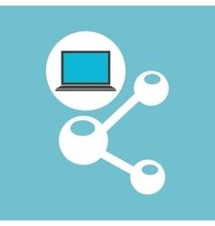 Social media laptop sharing icon vector