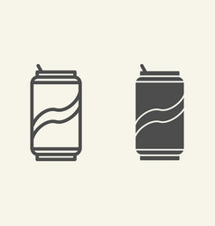soda can line and glyph icon drink in aluminum vector image