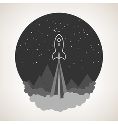 Space rocket flies into space vector image vector image