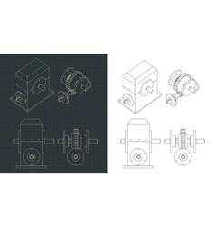 Speed reducer blueprints vector