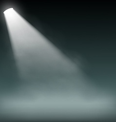 Spotlight illuminates smoke on a dark background vector