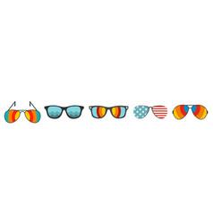 sun glasses icon set flat style vector image