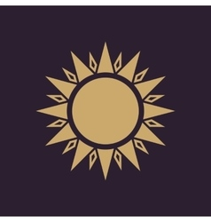The sun icon Sunrise and sunshine weather sun vector image