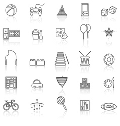 Toy line icons with reflect on white vector image