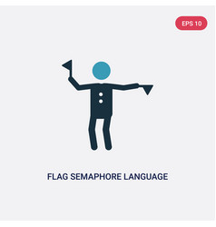 Two color flag semaphore language icon from vector