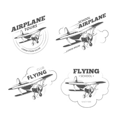 Vintage airplane or aircraft logos emblems vector image