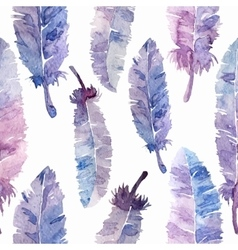 Watercolor feathers seamless pattern vector image