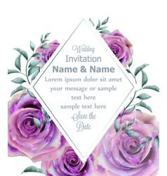 Wedding invitation rose flowers watercolor frame vector