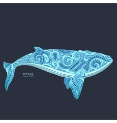 Whale with tribal ornaments vector image