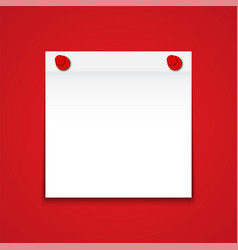 white blank paper note on red background vector image