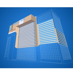Wireframe with dimensional hotel plaza vector
