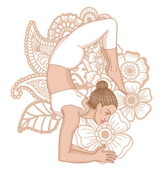 Women silhouette scorpion yoga pose vector