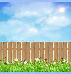 wood fence with grass flower and sky background vector image