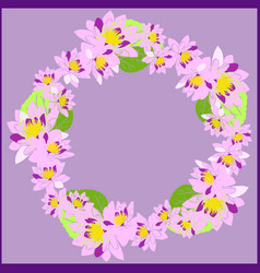 Wreath with pink water lotus and green leaves on vector