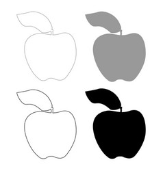 Apple the black and grey color set icon vector