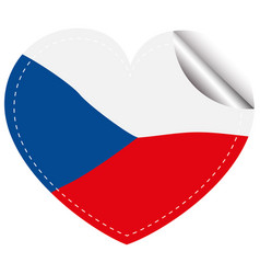 flag icon design for chilie in heart shape vector image vector image