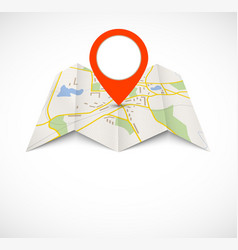 Navigation map with red pin vector image vector image