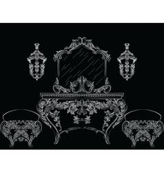 Rich baroque rococo furniture vector