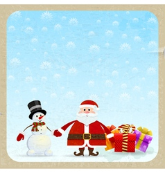 Santa Claus and snowman with gifts vector image