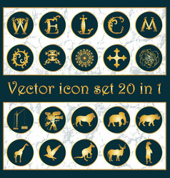 set of vintage gold icon logo 20 in 1 with vector image vector image