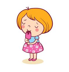 the little girl with pleasure eats ice-cream vector image