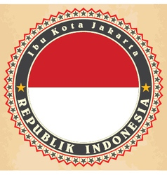 Vintage label cards of Indonesia flag vector image