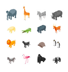 wild animals 3d icons set isometric view vector image vector image