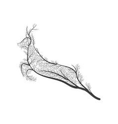 wild deer jumping stylized bush vector image