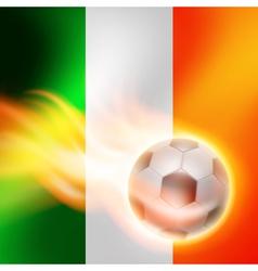 Burning football on Ireland flag background vector image