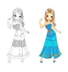 Coloring Book Of Boho Girl vector image vector image