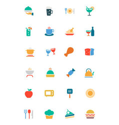 Food and Drinks Colored Icons 1 vector image
