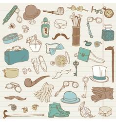 Gentlemens accessories doodle collection vector