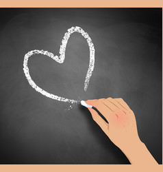 hand drawing heart with chalk vector image vector image