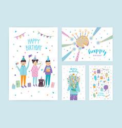 happy birthday cards set collection of cartoon vector image vector image