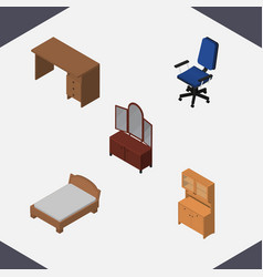 Isometric furnishing set of drawer office vector