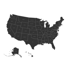 Map of USA with state names vector image