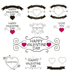 Set of emblems or decoration for Valentines Day vector image