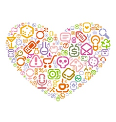 Stencil icons in heart shape vector image