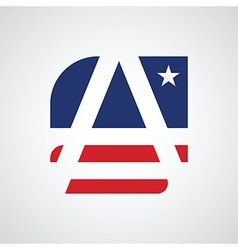 Stylized letter A as American flag vector image vector image