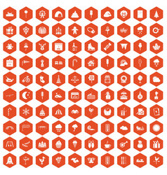 100 childrens parties icons hexagon orange vector image