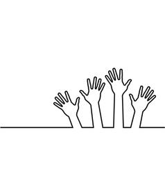 black line of hands vector image