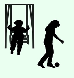 child and the child on a swing with the ball vector image vector image