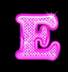 E letter pink bling girly vector image vector image