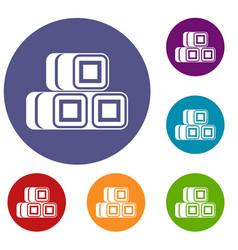 Hay bundles icons set vector