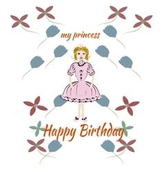 Princess pink birthday card vector image vector image