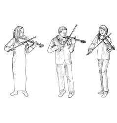 sketch of man and women playing the violins vector image