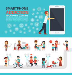 smartphone addiction infographic elements with vector image