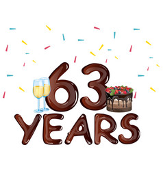 63 years anniversary celebration card vector image vector image