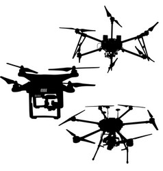black set silhouette drone quadrocopter on white vector image vector image