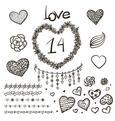 large creative set of valentines day vector image